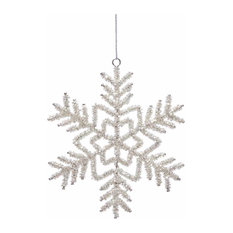 """Serene Spaces Living Set of 6 Hanging Glass Beaded Snow Flake Ornaments, 6"""" Dia"""
