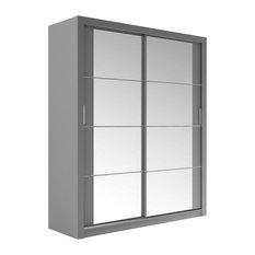 Tulsa 2-Door Sliding Wardrobe, Grey, No LED Lighting