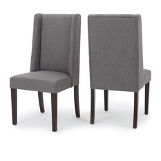 Set of 2 Dining Chair, Tapered Birch Wood Legs and Dark Grey Seat With Wingback