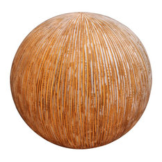 """17"""" X 14"""" Sandstone Ribbed Finish Ball With Light For Outdoor Use"""