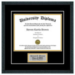 "Perfect Cases, Inc. - Personalized Single Diploma Frame with Double Matting, Classic Black, 7""x9"", UV - Proudly display your achievement with our Personalized single diploma frame. This frame comes with your choice of moulding, double matboard colors, crystal clear glass protection and a customizable engraving plate. We have several hardwood moulding options that have beautiful finishes. This frame also comes with your choice of double mat board colors. We have several color options or an open ended option for you to include your school name. If you provide us with your school name, we can match your school colors. Our last option is with our glass protection. We have standard clear glass and an upgraded Conservation Glass that provides museum quality 99% UV protection."