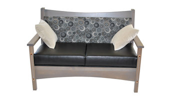 Standard Finish Renwick Upholstered Loveseat, Burgundy Leather, Rustic Hickory
