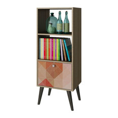 modern oak finish bookcase with midcentury style wood legs bookcases