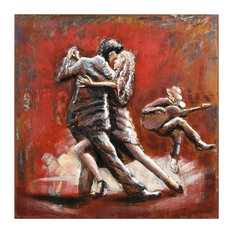"""""""Dance"""" Mixed Media Iron Hand Painted Dimensional Square Wall Sculpture"""