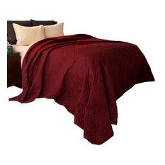 Lavish Home Solid Color Bed Quilt, Burgundy, King