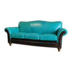 """Albuquerque"" 3 Cushion Turquoise Sofa"
