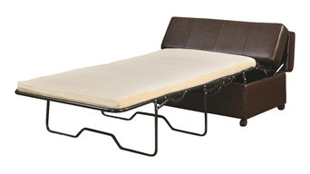 Brown Vinyl Upholstered Bench Ottoman With Fold Out Sleeper