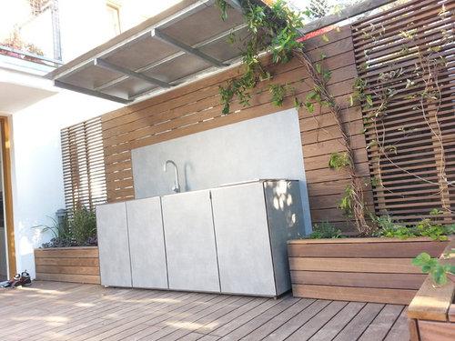 Outdoorküche Mit Kühlschrank Verlegen : Terrasse mit outdoorküche vorher nachher