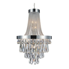 "Formal Polished Stainless Steel and Crystal Chandelier, 24""x42"""