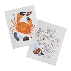"2-Piece Original ""Sea Fan and Crab"" Watercolor Paintings by Olena Baca"