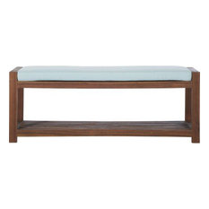 "48"" Patio Wood Bench with Cushion - Dark Brown/Blue"