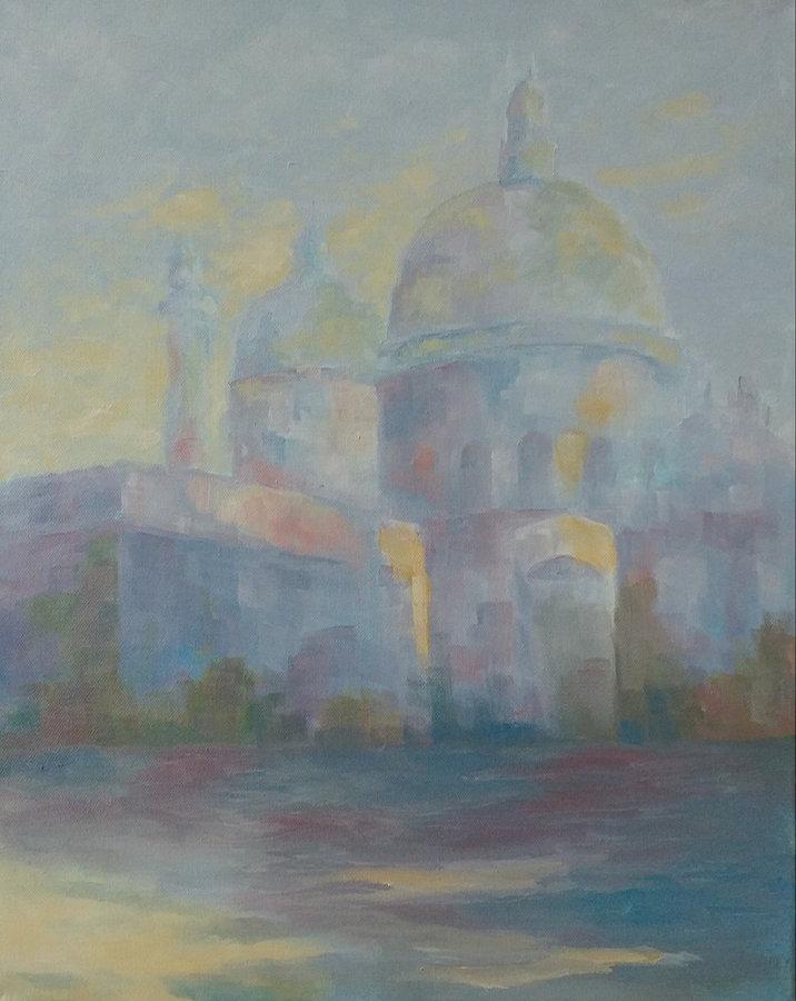 SOLD Santa Maria della Salute, Misty Morning, 20x16, framed