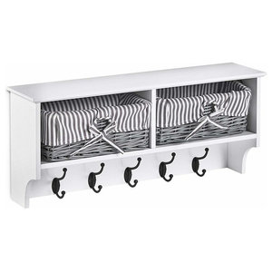 Contemporary Hanging Coat Hooks and Storage Unit, White MDF With 2-Basket