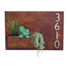 Hanging Planter and Metal Address Plaque, With Numbers
