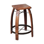 24 Quot Stave Stool With Chocolate Leather Top Industrial