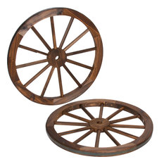 Trademark Innovations - Decorative Wood Garden Wagon Wheels, Set of 2 - Garden Statues and Yard Art