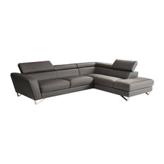 Nicoletti  Sparta Italian Leather Sectional Sofa, Gray, Right Facing Chaise