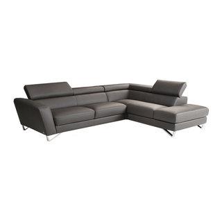 Nicoletti Sparta Italian Leather Sectional Sofa Gray Right Facing Chaise 3 779 10