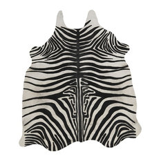 Rosario Zebra-Print Cowhide Area Rug, 140x200 cm