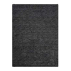 Rugsotic Carpets Hand Knotted Loom Wool Solid Area Rug, Charcoal, 8'x10'