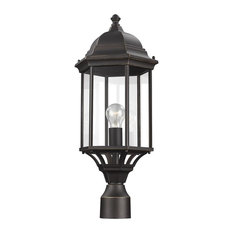 Sea Gull Lighting 1-Light Outdoor Post Lantern, Bronze