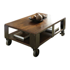 Steve Silver Company - Steve Silver Barrett 2-Piece Coffee Table Set with Casters in Distressed Tobacco - Coffee Table Sets