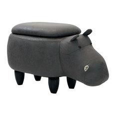 "15"" Seat Height Animal Shape Storage Ottoman Furniture Dark Gray Hippo"
