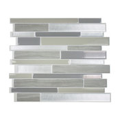 Smart Tile Milano Grigio Peel and Stick 3D Gel-O Wall Tiles Mosaik, Set of 10