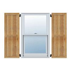 "21 1/2""W x 52""H (Four 5 3/8"" Boards) Rough Cedar Framed BnB Shutters - Pair"