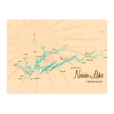 "Lakebound Norris Lake Tennessee Map Art Print, 18""x24"""