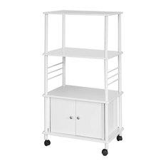 Modern Storage Serving Trolley, MDF, White Steel Frame, Bottom Cabinet, White