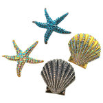 Evelyn Hope Collection - Sea-Beach-Coastal-Shell-Starfish Decorating Pins - Home decorating will never be the same. Introducing our new collection of affordable, innovative jewelry for your home, holidays, events and more! These are not standard brooches, they have a unique back that enables them to be used on soft and firm surfaces easily. Display them on pillows, wreaths, place settings, gifts, frames, baskets, lamp shades, draperies, bridal bouquets, wood signs and more. Specially designed with a straight backand smooth closure, the pin will add a dash of magic that stays securely.