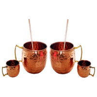 Moscow Mule Mug, Shot Glass and Straw Complete Set 100% Copper, Set of 2