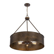 Nuvo Kettle 5-Light 300W Weathered Brass Oversized Pendant Ceiling Light Fixture