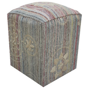 Embroidered Kilim Cube Stool With Flower