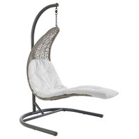 Landscape Hanging Chaise Lounge Outdoor Patio Swing Chair, White