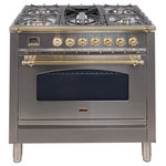 ILVE - 36'' Nostalgie Gas Range in Stainless Steel with Brass Trim, NG - The Nostalgie immediately states its vocation as a range designed and made for the most demanding skilled user. Its classic look is enhanced by its frame offering burners rated up to 155000 BTU/h. It is a fully fledged professional range for domestic market.