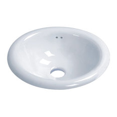 "Vanity Fantasies ""Derby"" Porcelain Oval Drop-In Vanity Sink, White"