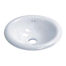 """Vanity Fantasies """"Derby"""" Porcelain Oval Drop-In Vanity Sink, White"""