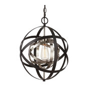 1-Light Foyer Kitchen Island, Dining Room Chandelier, Oil Rubbed Bronze