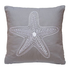 North End Decor - Starfish Chain Stitch Decorative Pillow 18x18 Lavender-Gray, Insert Included - Decorative Pillows