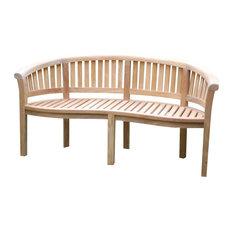 Kensington Curved Arm Bench, Grade A Teak