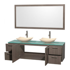 "Amare 72"" Double Vanity, Gray Oak, Green Glass Top, Arista Ivory Marble Sinks"
