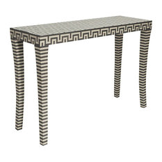 Worlds Away Andes Grey And White Resin Console Table