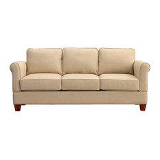 Georgetown Quick Assembly Three Seat Oak Leg Sofa, Buff
