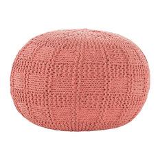 GDF Studio Valentine Intricate Hand Knit Fabric Pouf, Coral