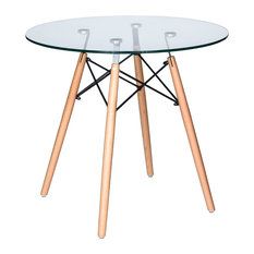 LeisureMod Dover Round Bistro Glass Top Dinin Table, Natural Wood Eiffel Base