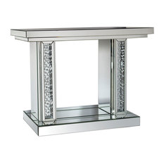 Acme Nysa Console Table, Mirrored and Faux Crystals