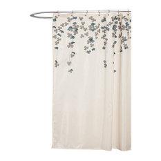 "Lush Decor - Flower Drops Shower Curtain, Ivory/ Blue, 72"" X 72"", Floral, Single - Shower Curtains"