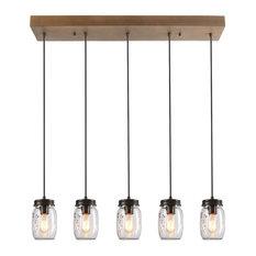 5-Light Glass Mason Jar Island Pendant Lighting